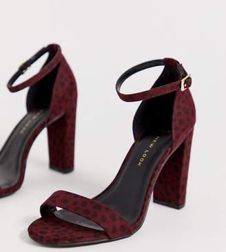 53f9365ac70557 New Look Wide Fit cheetah block heel in red