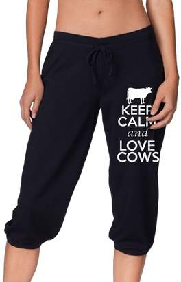 Cloud Up Keep Calm And Love Cows Print Pants For Women Tank Top With Capri Jogger Sweatpants