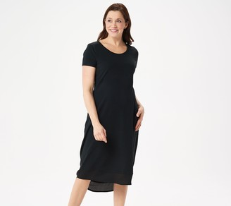 Halston H By H by Petite Hi-Low Short-Sleeve Knit Midi Dress w/ Woven Detail