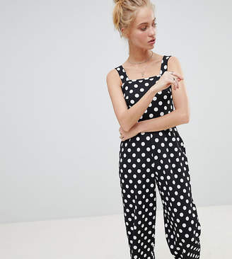 Daisy Street Cropped Jumpsuit In Polka Dot