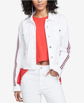 Rachel Roy Cotton Striped-Sleeve Denim Jacket, Created for Macy's