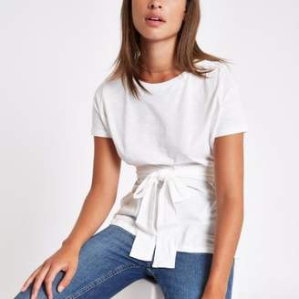 River Island Womens White fitted tie front T-shirt