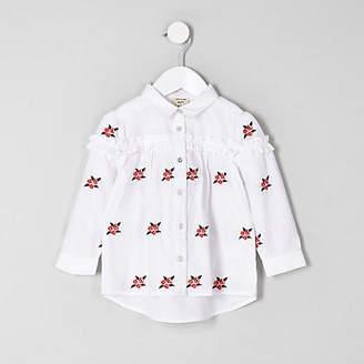 River Island Mini girls White floral poplin shirt