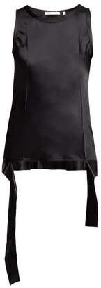 Helmut Lang Asymmetric Hem Sleeveless Satin Top - Womens - Black