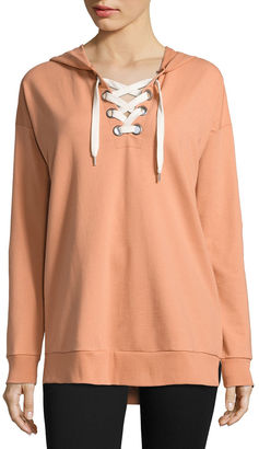 Flirtitude French Terry Lace Up Hoodie- Juniors $34 thestylecure.com