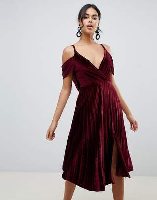 Asos Design DESIGN pleated velvet cami midi dress with cowl back detail