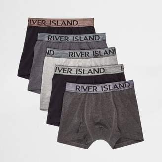 River Island Black metallic waistband trunks multipack