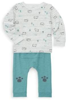 Petit Lem Baby Boy's Bear Two-Piece Tee & Pants Set