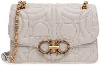 Salvatore Ferragamo Gancino quilting light beige leather matelasse bag