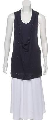 Brunello Cucinelli Linen Overlay Sleeveless Top