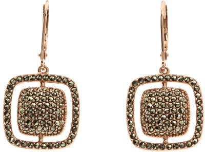 Judith Jack - Rose Gold Square Cushion Drop Earrings