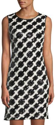 Taylor Stretch-Sequin Lattice Sheath Dress
