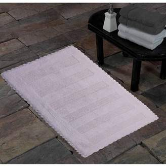 Saffron Fabs SPA Bath Rug, Reversible Hand Woven Crochet Lace Border Solid Textured Stripes Pattern, Assorted Colors and Sizes
