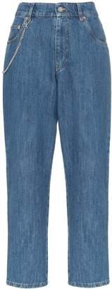 Miu Miu high waisted chain detail cropped jeans