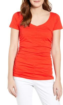Caslon Shirred V-Neck Tee