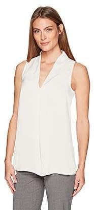 Lark & Ro Women's Sleeveless Reverse Pleat Blouse