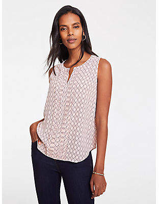 Ann Taylor Geo Pleat Front Shell