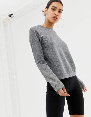 Asos Design DESIGN sweat in silver metallic