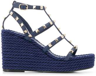 Valentino Rockstud Torchon wedge sandals