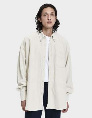 Our Legacy Borrowed Button Down Shirt in Washed White Heavy Noil