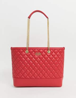 479b512a0e410 Love Moschino quilted shopper bag in red