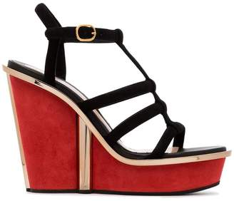 Alexander McQueen contrast wedge sandals