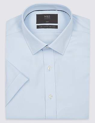 Marks and Spencer Short Sleeve Non-Iron Slim Fit Shirt