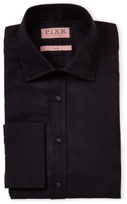 Thomas Pink Black Classic Fit Twill French Cuff Dress Shirt