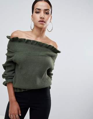 AX Paris off shoulder frill detail sweater
