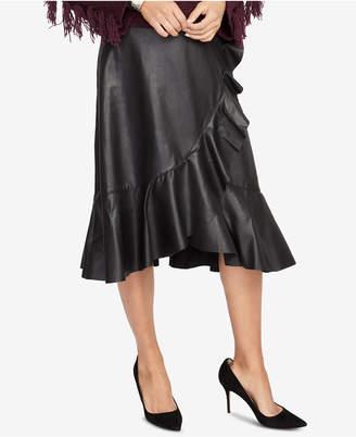 Rachel Roy Ruffled Faux-Leather Skirt