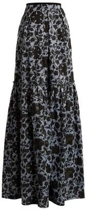 Erdem Amanda Floral Jacquard Maxi Skirt - Womens - Black Blue
