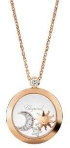 Chopard Happy Diamonds 18K Rose Gold& Diamond Pendant Charm Necklace