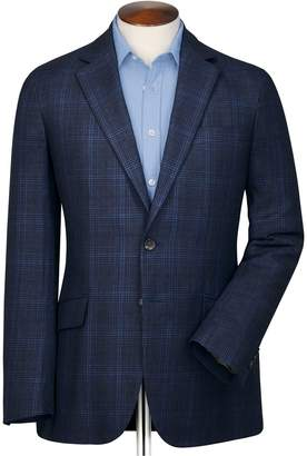 Charles Tyrwhitt Classic Fit Indigo Prince Of Wales Checkered Linen Mix Linen Jacket Size 38