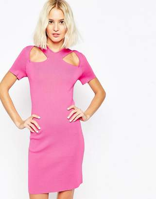 Asos DESIGN Dress with Cut Out Detail And Zip Back In Structured Knit