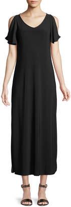 Neiman Marcus Butterfly-Sleeve Maxi Dress