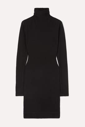 Bassike Waffle-knit Cotton Turtleneck Mini Dress - Black