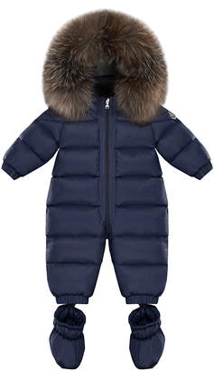 Moncler Cayalar Quilted Fur-Trim Bunting w/ Detachable Booties, Size 6-24 Months