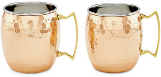 One Kings Lane Set of 2 Hansley Hammered Moscow Mule Mugs - Copper