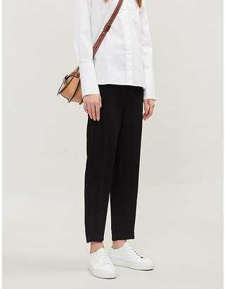 Vince Satin side-striped drawstring-waist crepe trousers