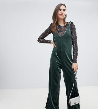 Monki overall jumpsuit in dark green velvet