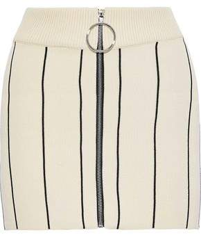 Paco Rabanne Zip-detailed Pinstriped Cotton Mini Skirt
