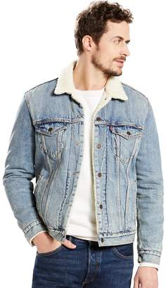 Levi's Levis Men's Sherpa-Collar Denim Trucker Jacket