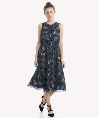 Sole Society S/L Smocked Waist Garden Floral Dress