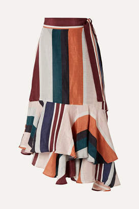 5c02de8c74 Apiece Apart Rosita Striped Linen And Silk-blend Wrap Skirt - Orange