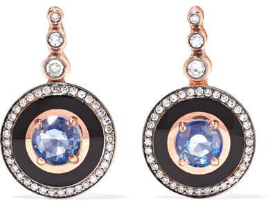 Selim Mouzannar - Mina 18-karat Rose Gold, Enamel, Diamond And Sapphire Earrings