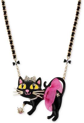 Betsey Johnson Antique Gold-Tone Tutu Cat Pendant Necklace