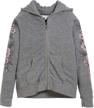 Spiritual Gangster Zip-Up Hooded Jacket w/ Rose-Print Sleeves, Size 6-14