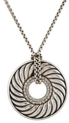 David Yurman Diamond Large Sculpted Cable Disc Pendant Necklace