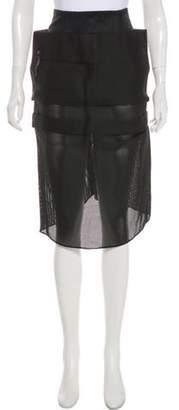 Acne Studios Mesh-Accented Knee-Length Skirt Black Mesh-Accented Knee-Length Skirt