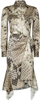 Roberto Cavalli Macro Python Silk Shirt Dress